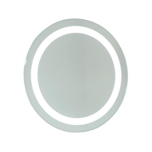 24 in. W x 24 in. H Frameless Round LED Light Bathroom Vanity Mirror in Clear