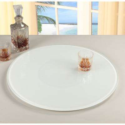 Lazy Susan 24 in. Round White Glass Spinning Tray