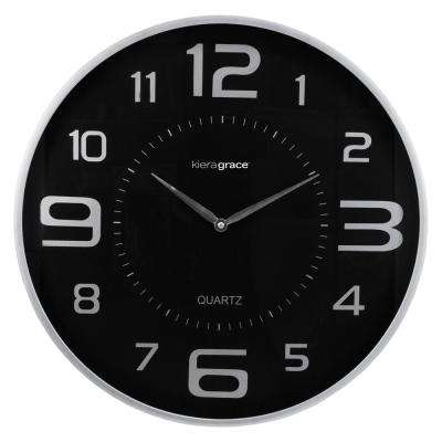 Austin 18 in. Wall Clock 1-3/4 in. D with Large Dial and Sleek Silver Profile