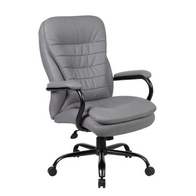 Grey Caressoft Cover 400 lb Capacity Black Steel Frame Big and Tall Executive Pillow-Top Styled Chair