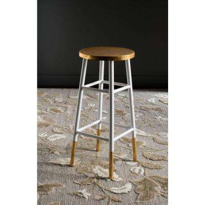 Emery 30 in. White and Gold Bar Stool