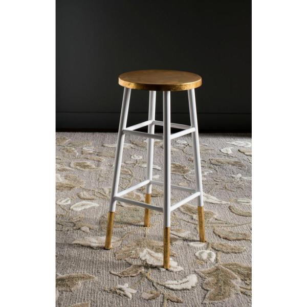 Safavieh Emery 30 In White And Gold Bar Stool Fox3230d