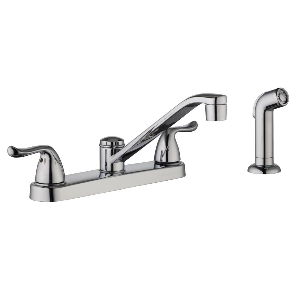 Glacier Bay Constructor 2-Handle Standard Kitchen Faucet with Side Sprayer in Chrome
