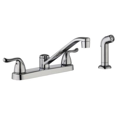 Constructor 2-Handle Standard Kitchen Faucet with Side Sprayer in Chrome