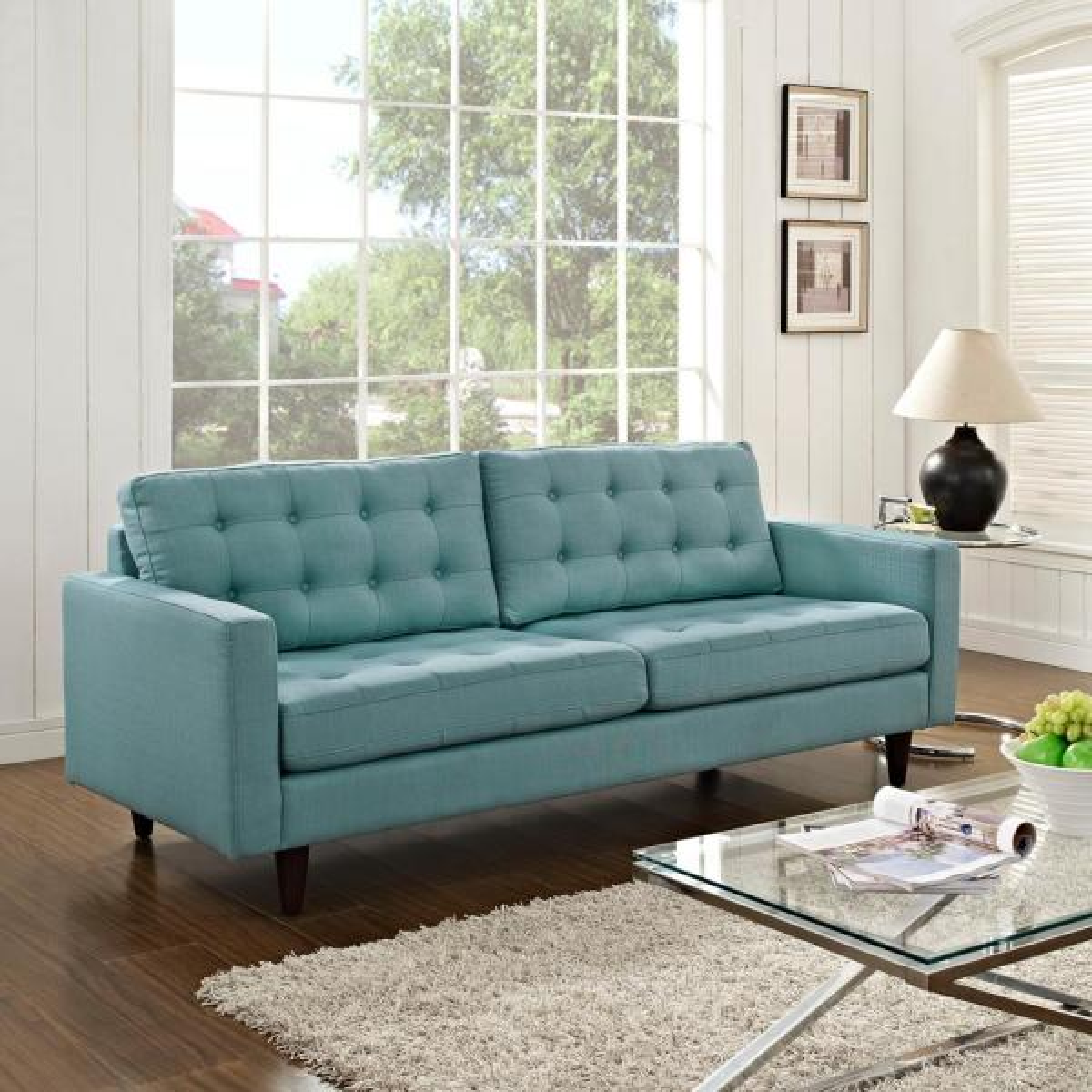 MODWAY Empress Laguna Upholstered Fabric Sofa EEI-1011-LAG
