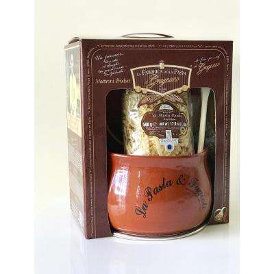 Soups and Stews Gift Set with Handmade Terracotta Soup Pot and Lid, Pasta, Spoon and Splash Guard