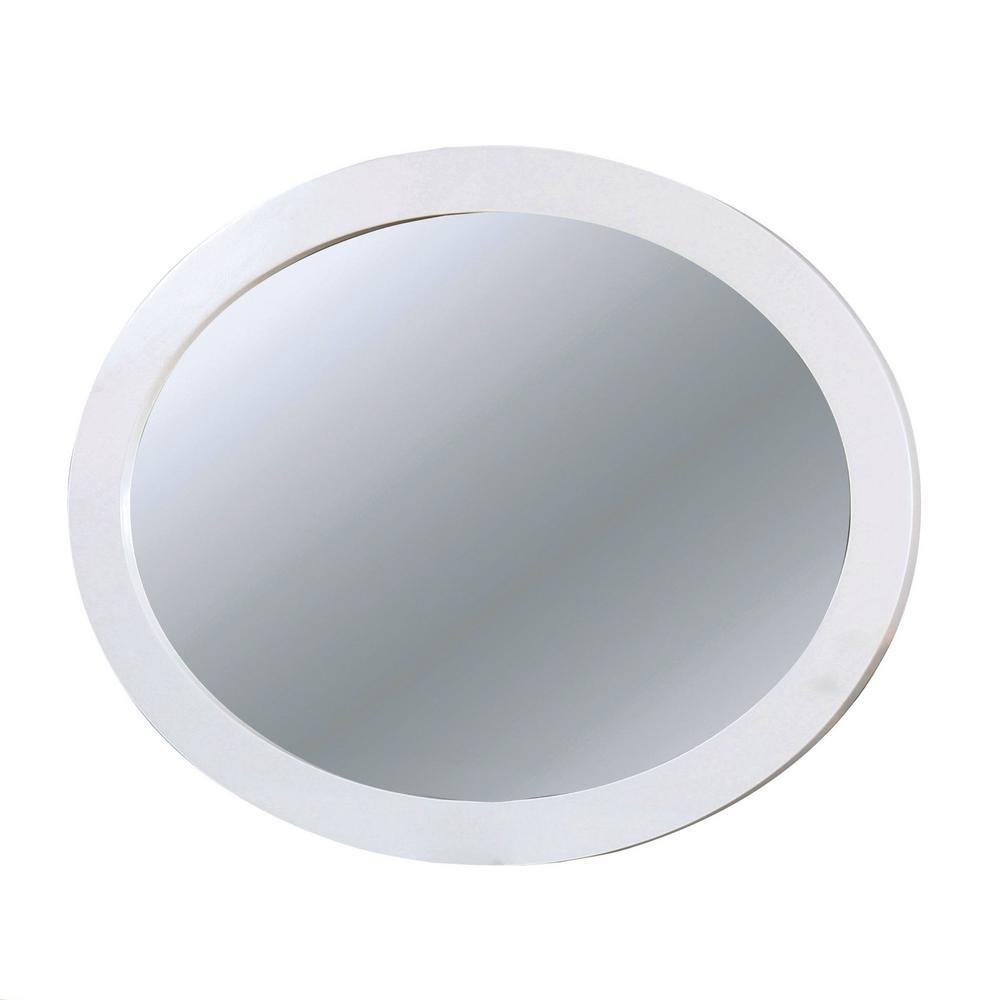 Mackie Wood Oval White Decorative Wall Mirror