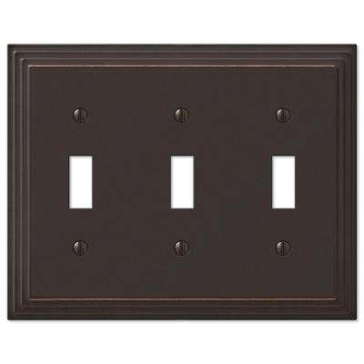 Tiered 3 Gang Toggle Metal Wall Plate - Aged Bronze