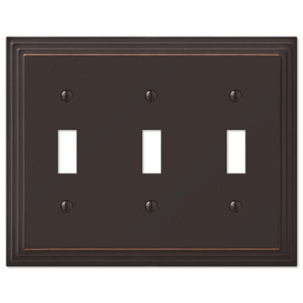 Hampton Bay Tiered 3 Toggle Wall Plate Aged Bronze Cast