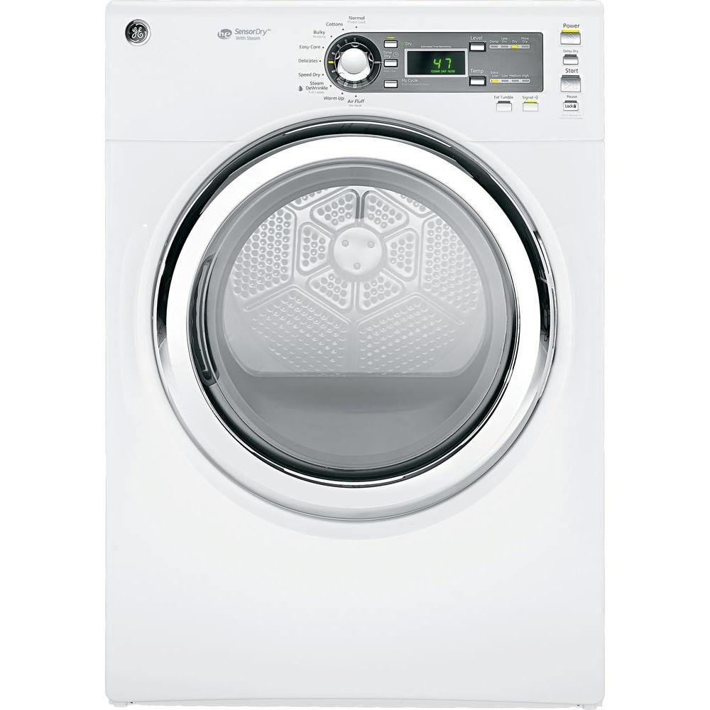 GE 7.5 cu. ft. Gas Dryer with Steam in White