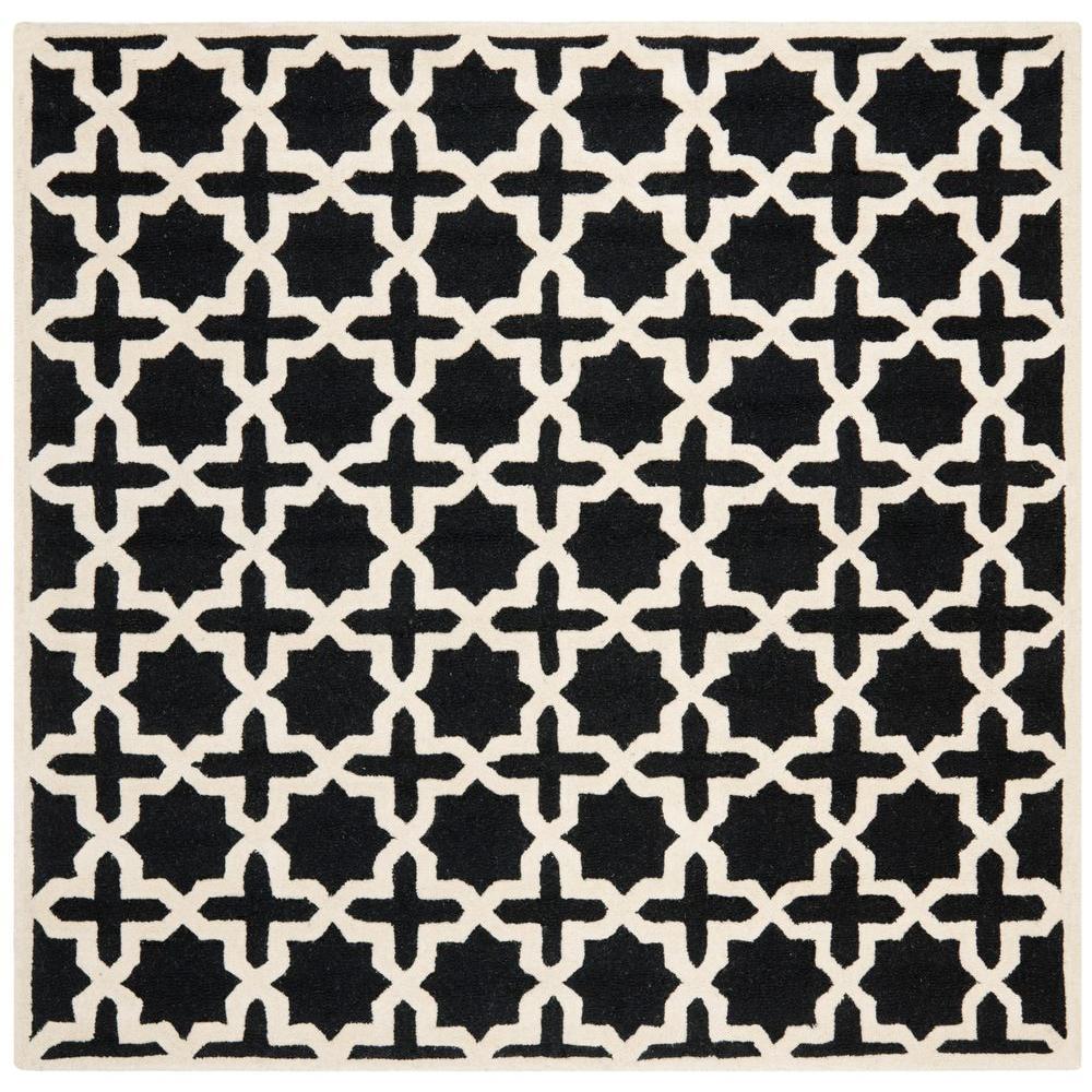 Safavieh Cambridge Black/Ivory 6 ft. x 6 ft. Square Area Rug