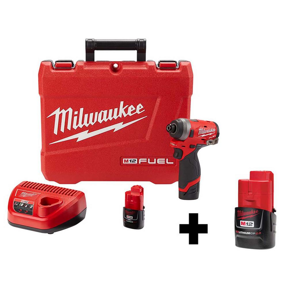Milwaukee M12 FUEL 12-Volt Lithium-Ion Brushless Cordless 1/4 inch Hex Impact Driver Kit w/ Free M12 2.0Ah Battery