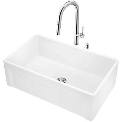 All-in-One Farmhouse Apron Front Matte Stone 30 in. Single Bowl Kitchen Sink and Faucet Set in Chrome