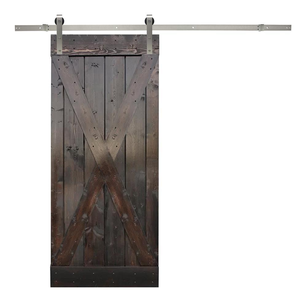 36 in. x 84 in. X-Panel Knotty Pine Wood Barn Door with Sliding Door Hardware Kit