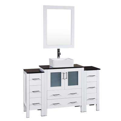 54 in. W Single Bath Vanity in White with Tempered Glass Vanity Top with White Basin and Mirror