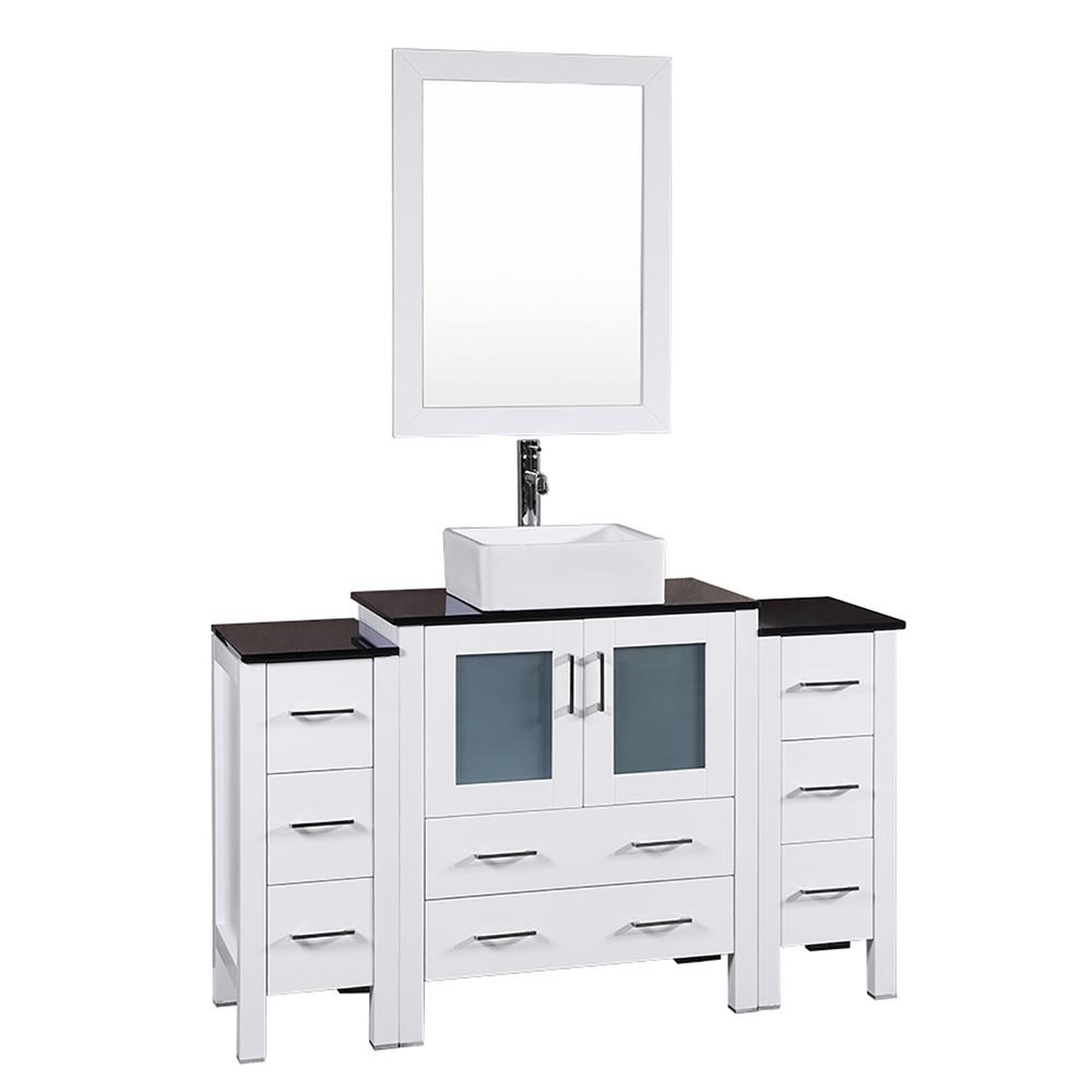 54 In W Single Bath Vanity In White With Tempered Glass Vanity Top