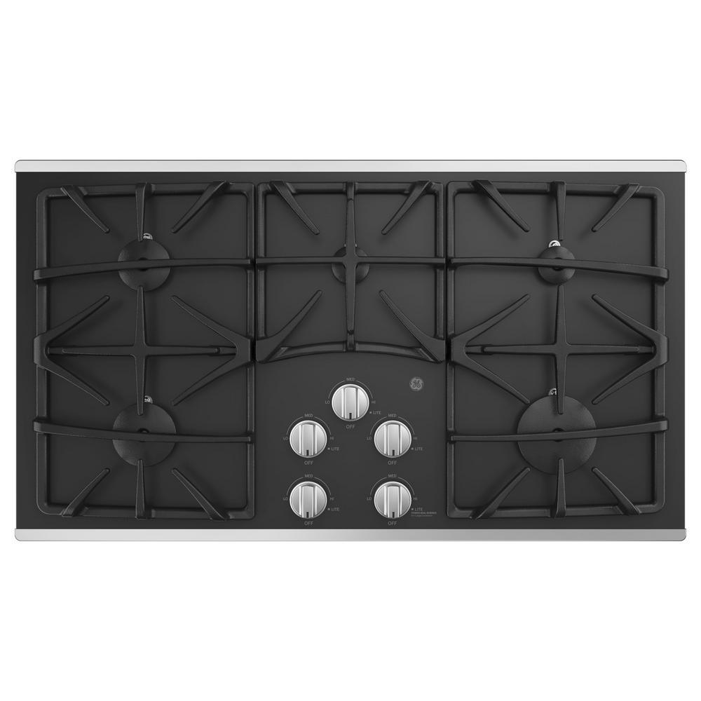 ge 36 in gas cooktop in stainless steel with 5 burners including power boil burner jgp5536slss. Black Bedroom Furniture Sets. Home Design Ideas