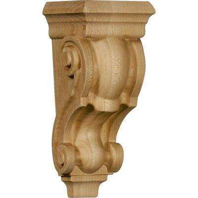 3 in. x 3-1/2 in. x 7 in. Unfinished Wood Red Oak Small Traditional Corbel