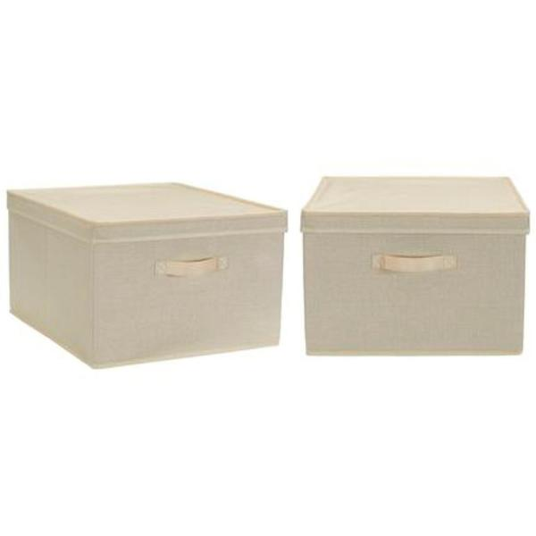 Household Essentials 11 Gal Jumbo Storage Box In Cream Linen 2 Pack 7425 1 The Home Depot