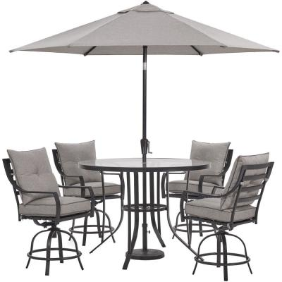 Lavallette 5-Piece Steel Outdoor Dining Set with Silver Linings Cushions, 4 Swivel Chairs, Table, Umbrella, Base