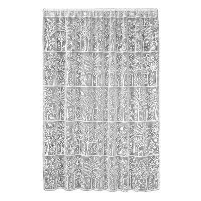 Rabbit Hollow White Lace Curtain 60 in. W x 84 in. L