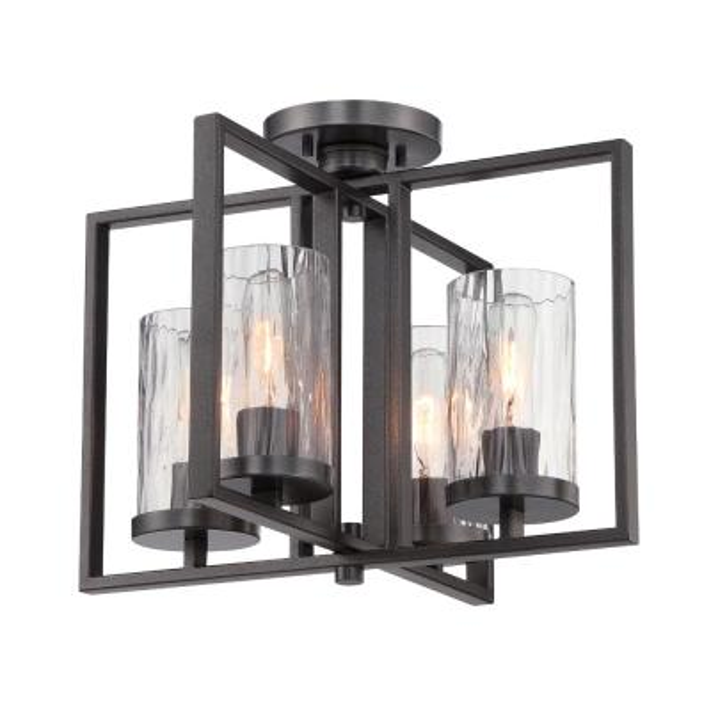 Elements 4-Light Charcoal Interior Incandescent Semi Flush Mount