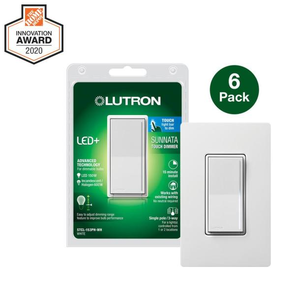 Sunnata Touch Dimmer with LED+ Advanced Technology for LED, Incandescent/Halogen Bulbs, White (6-Pack w/ Wall Plate)