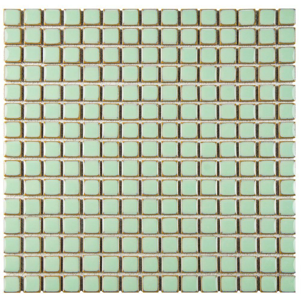 Merola Tile Hudson Edge Light Green 12-3/8 in. x 12-3/8 in. x 6 mm Porcelain Mosaic Tile