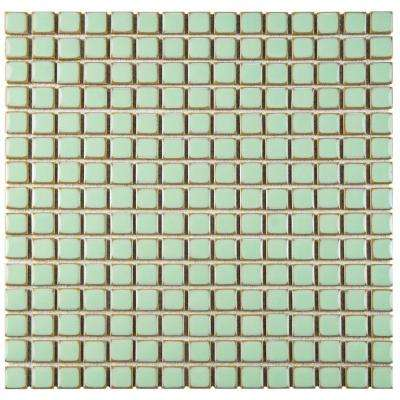 Hudson Edge Light Green 12-3/8 in. x 12-3/8 in. x 6 mm Porcelain Mosaic Tile