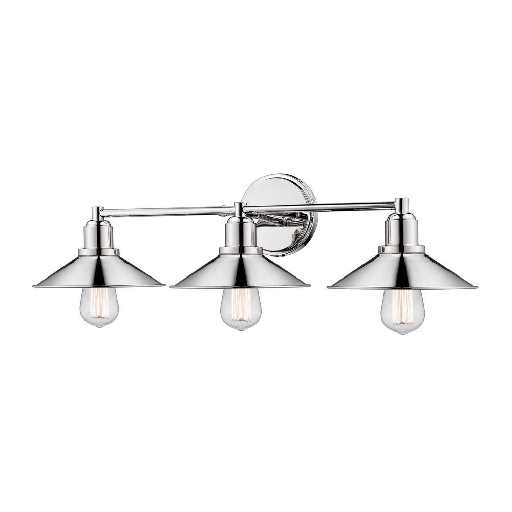 Cortez 3-Light Polished Nickel Bath Light with Polished Nickel Steel Shade