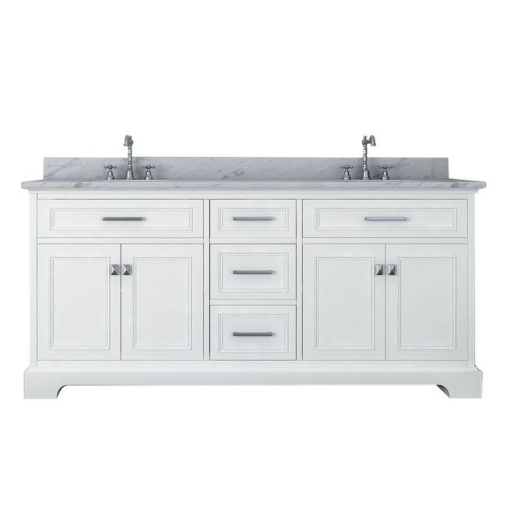 Alya Bath Yorkshire 73 in. W x 22 in. D Double Bath Vanity in White with Marble Vanity Top in White with White Basin
