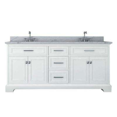 Yorkshire 73 in. W x 22 in. D Double Bath Vanity in White with Marble Vanity Top in White with White Basin