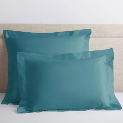Company Cotton Mineral Blue Solid 300-Thread Count Percale Euro Sham