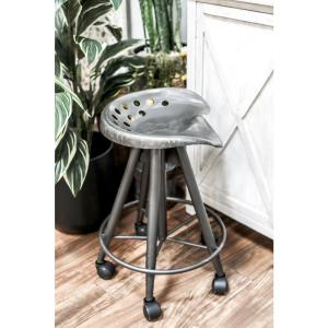 Stool Wheels Seat Rolling Adjule Padded Fake Leather Tractor