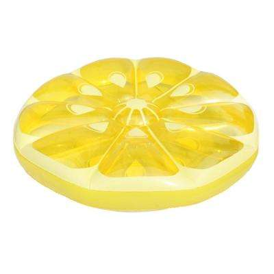 49 in. Inflatable Yellow Lemon Fruit Slice Island Lounger Float
