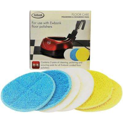 10 in. Assorted Floor Polishing and Scouring Pads (6-Pack)