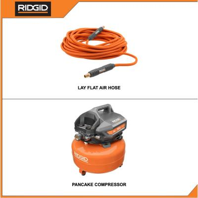 6 Gal. Portable Electric Pancake Air Compressor with 1/4 in. 50 ft. Lay Flat Air Hose