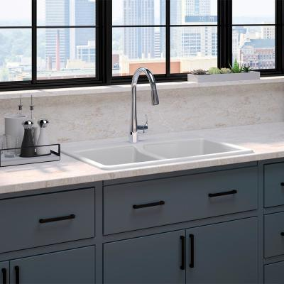 Brookfield All-in-One Drop-In Cast Iron 33 in. Double Bowl Kitchen Sink in White with Simplice Kitchen Faucet