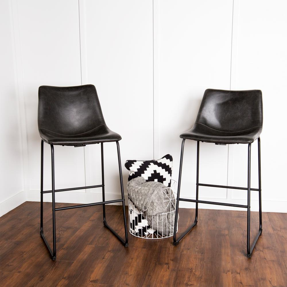 Faux Leather Brown Counter Stool Set Of 2 Dining Room Bar: Walker Edison Furniture Company Wasatch 25 In. Black Bar
