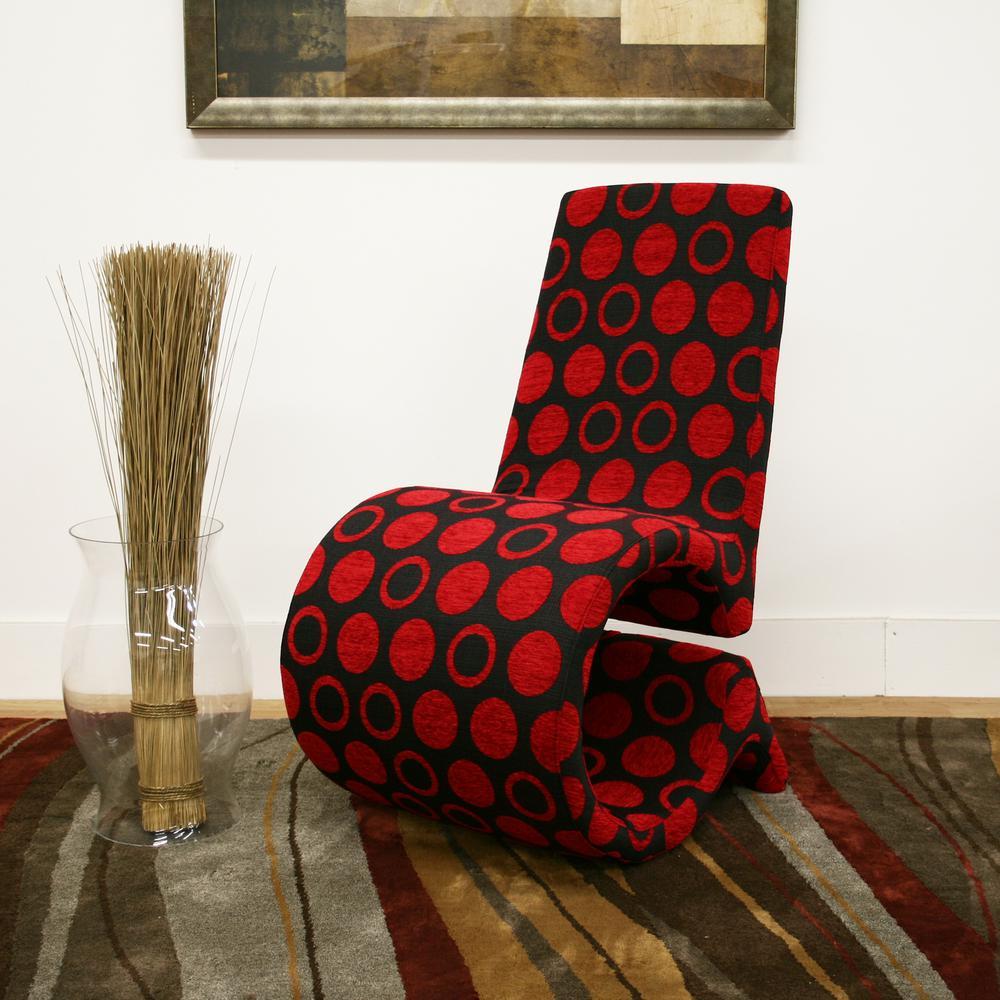 Awe Inspiring Forte Red Print Fabric Upholstered Accent Chair Inzonedesignstudio Interior Chair Design Inzonedesignstudiocom