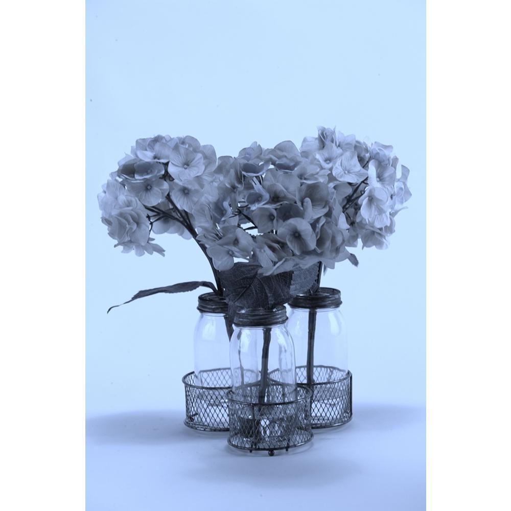 indoor Blue Hydrangeas in Glass Milk Bottles in Metal Holder