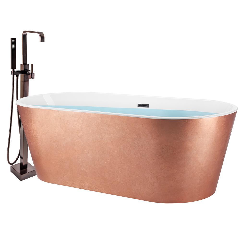 67 in. Glossy Copper Foil Fiberglass Non-Whirlpool Bathtub with Tub Filler Combo - Modern Flat Bottom Stand Alone Tub