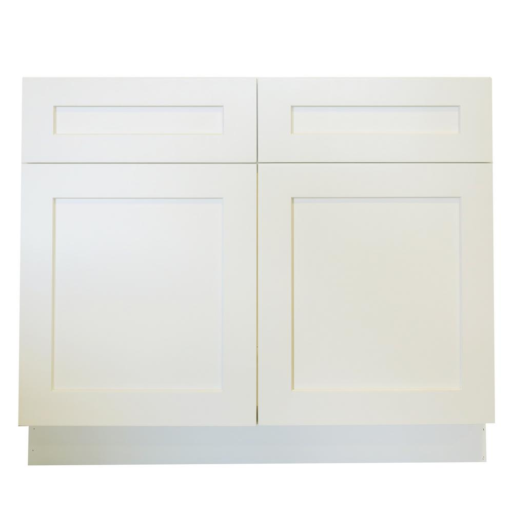 Incroyable Plywell Ready To Assemble 42x34.5x24 In. Shaker Sink Base Cabinet With 2  Doors