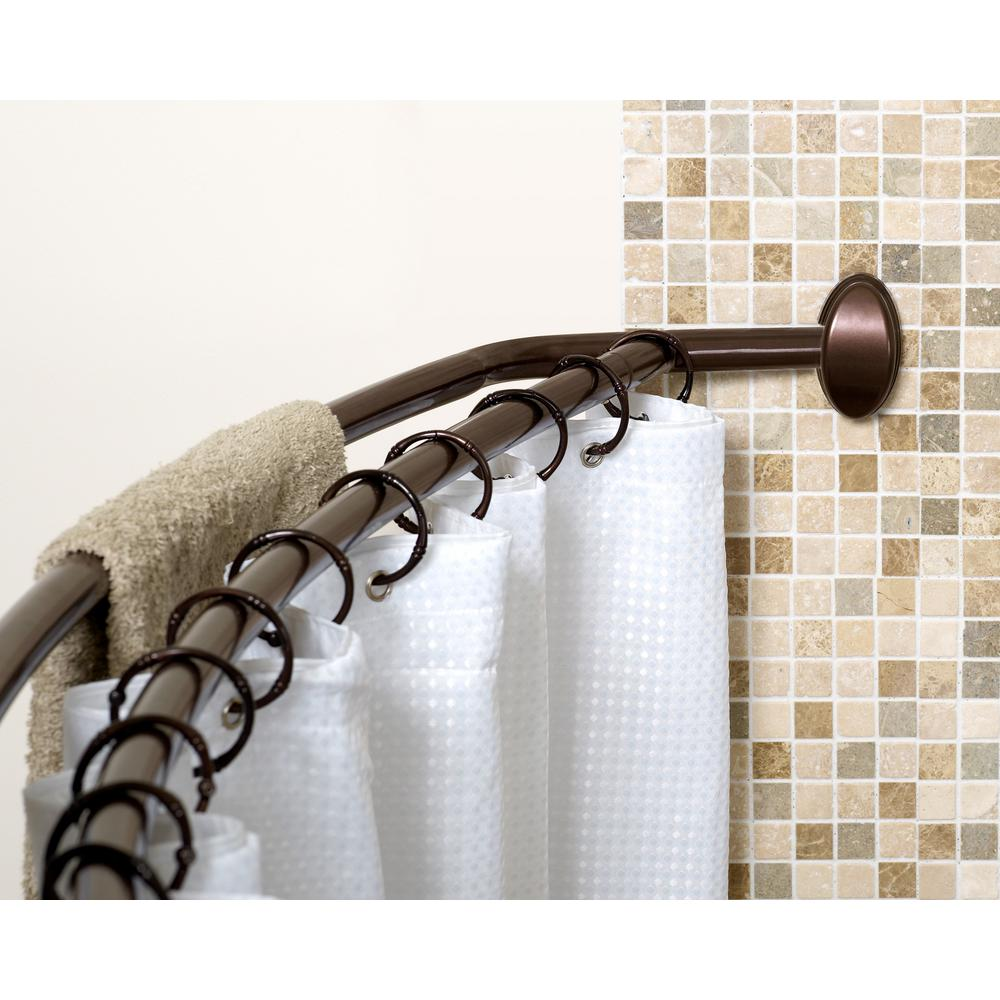 Bowed Shower Curtain Rod.Neverrust 45 In To 72 In Aluminum Double Curved Shower Curtain Rod In Bronze