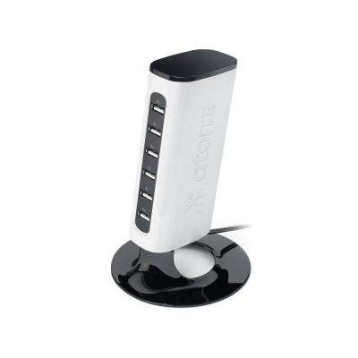 Charge Tower Pro 6-Port USB Charger, White