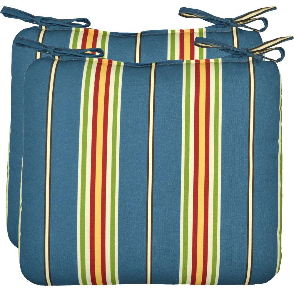 Hampton Bay Ocean Stripe Outdoor Seat Pad (2-Pack)
