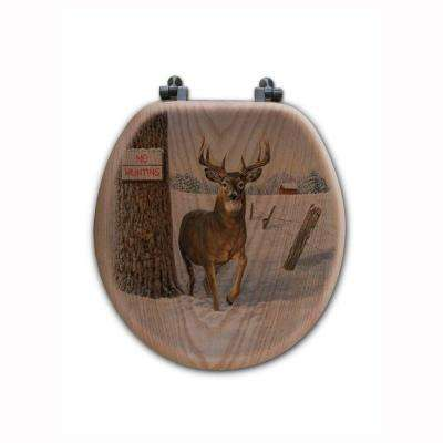 No Hunting Round Closed Front Wood Toilet Seat in Oak Brown