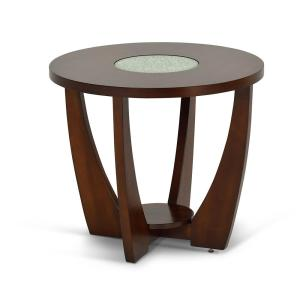 Rafael Merlot Cherry End Table with Cracked Glass Inserts by