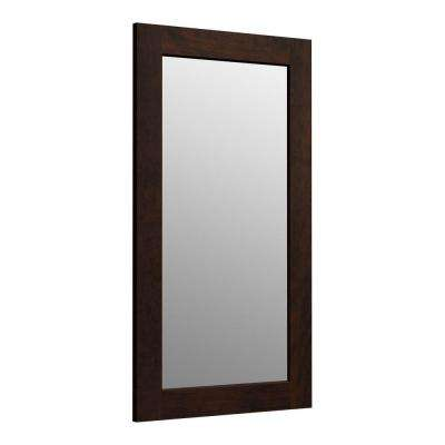 Poplin 35.5 in. H x 20.5 in. D Rectangular Single Framed Mirror in Claret Suede