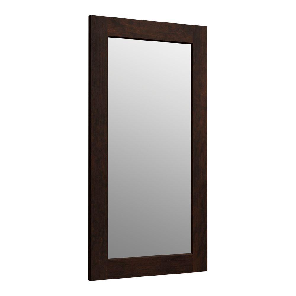 Poplin 36 in. H x 21 in. D Rectangular Single Framed Mirror in Claret Suede